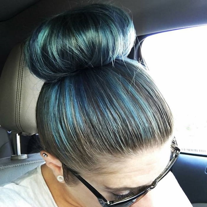 Bun with Faded Blue Highlights