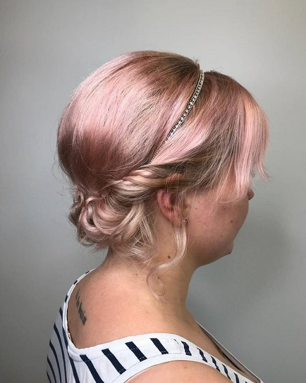 chignon bun for long layered bob with bangs