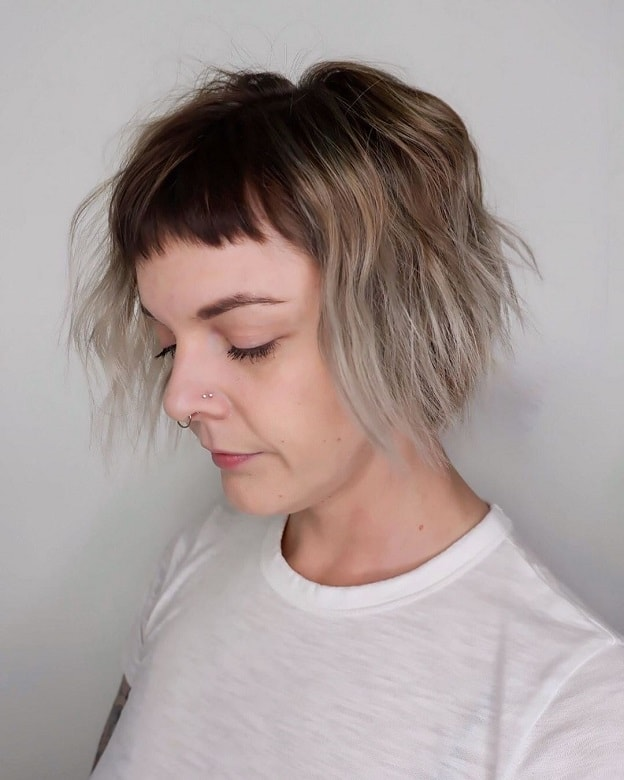 long ombre pixie with thick hair