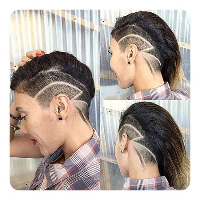 designed undercut with long hair
