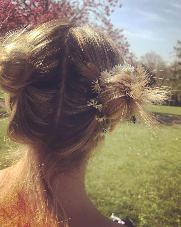 pigtail buns with flowers