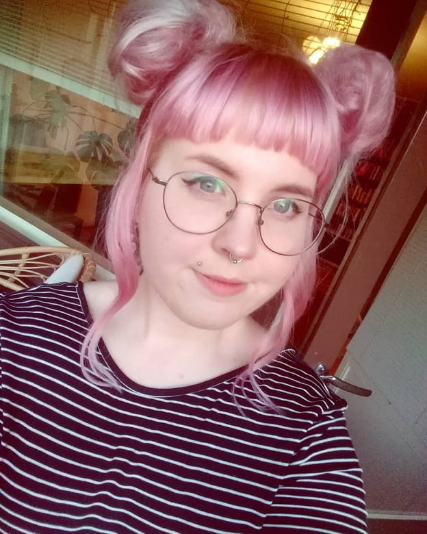 rose gold pigtail bun