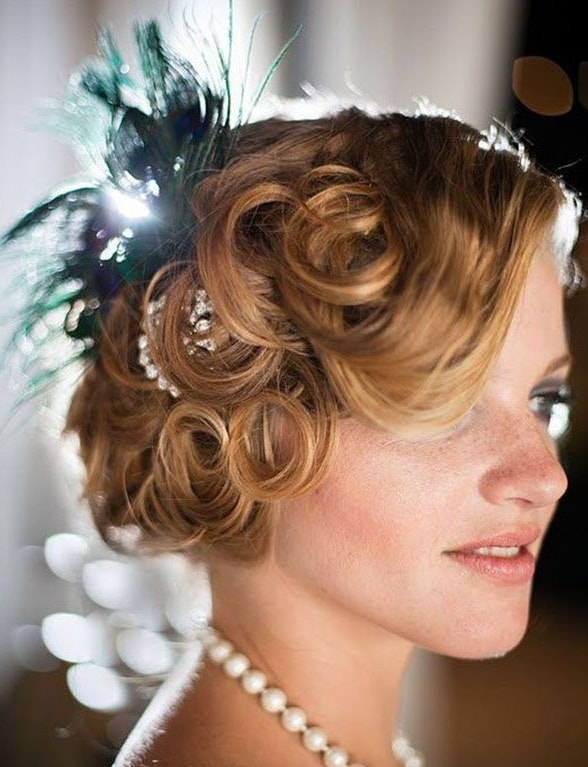 Pin Curl Updo with Flowers and Pearls