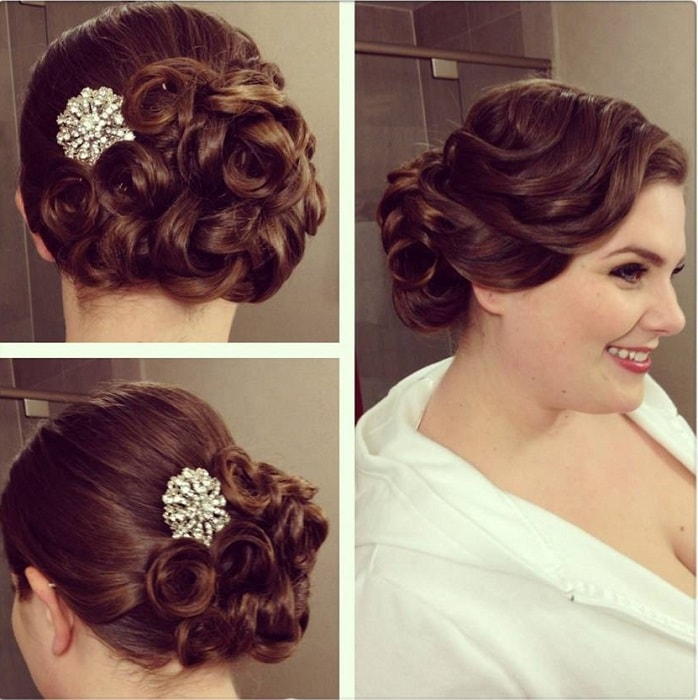 Pin Curl Updo with a Side Bun