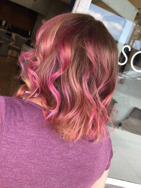 pink highlights on copper brown hair