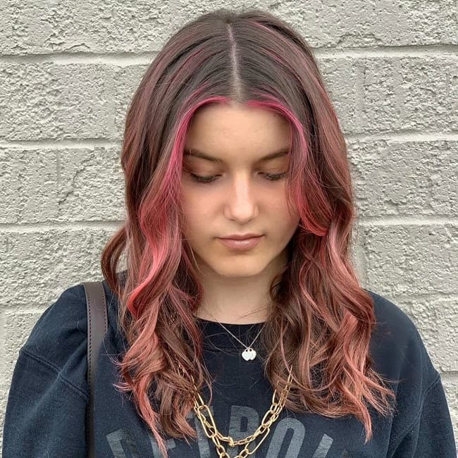 pink highlights on brown hair