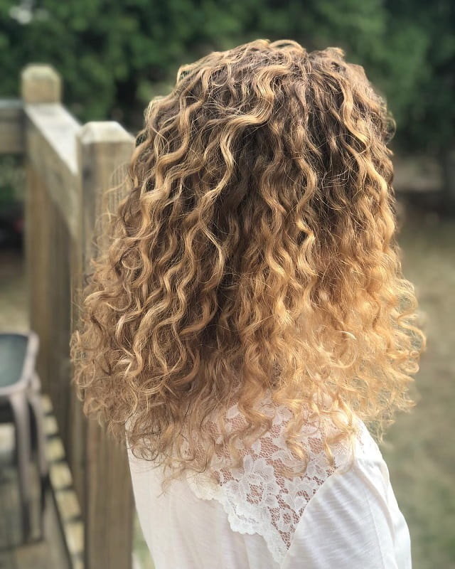 blonde pintura highlights on curly hair