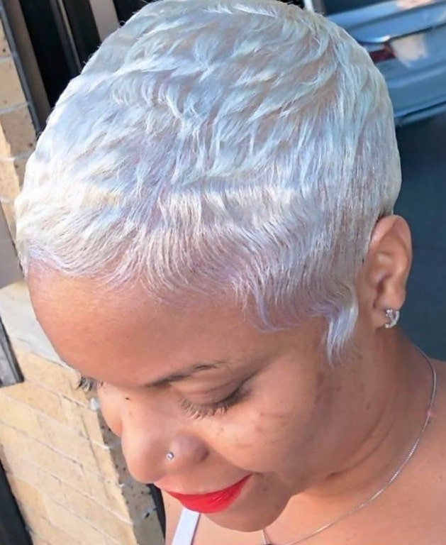 short platinum pixie cut for black women