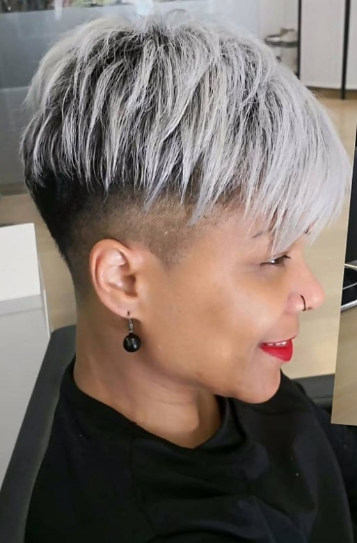 African American Grey Pixie Cut