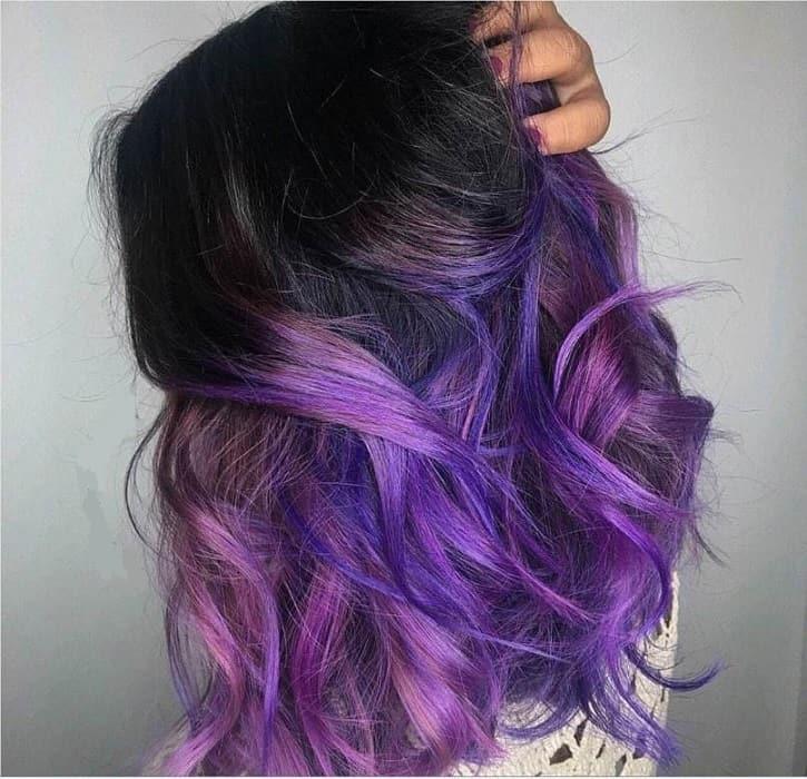 purple highlights on black hair