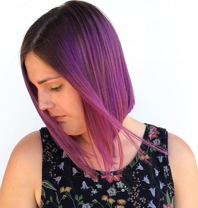 short black hair with purple ombre