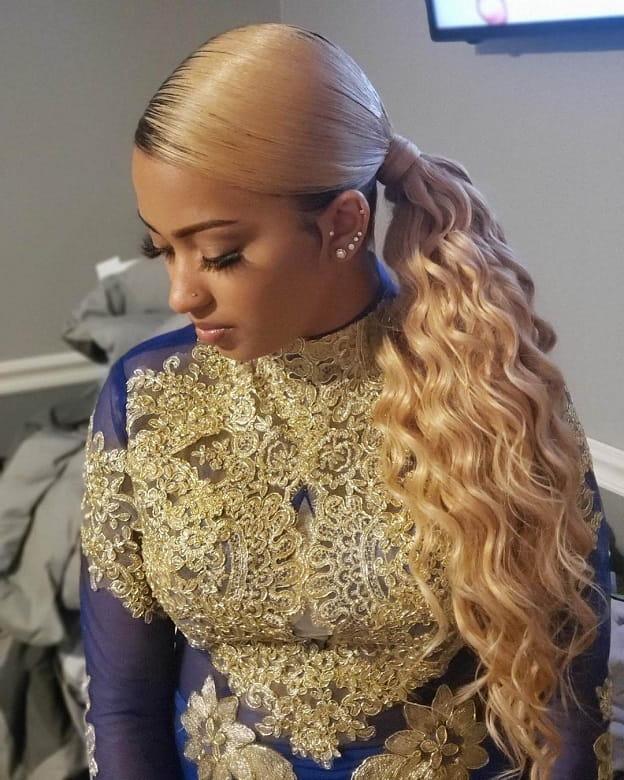 sew in blonde ponytail