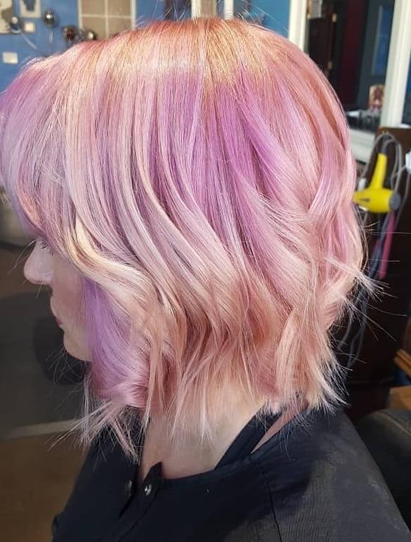 short pink angled bob