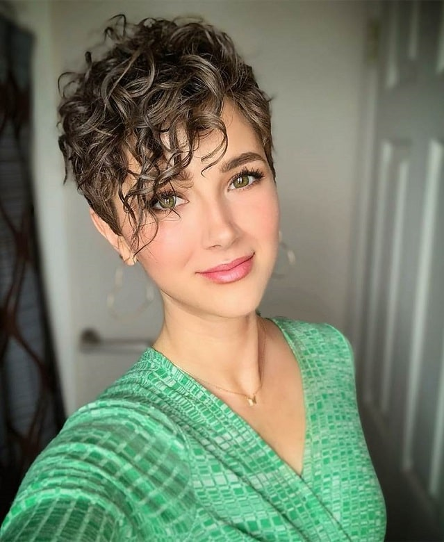 Short Curly Pixie Cut with Side Bangs