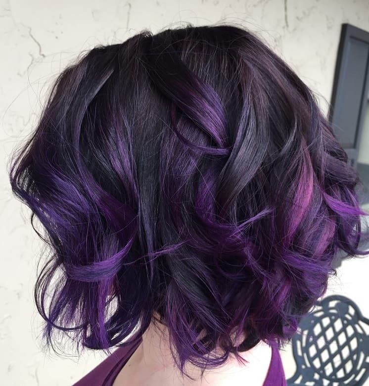 short bob with purple highlights