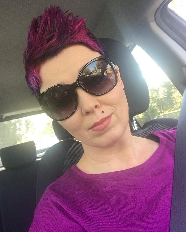short spiky purple hair