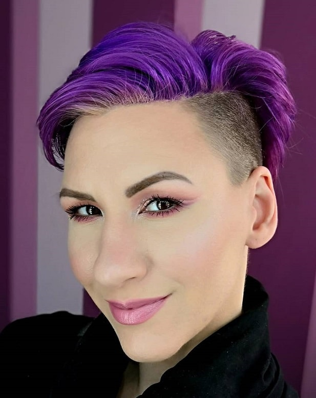 short purple hair with undercut