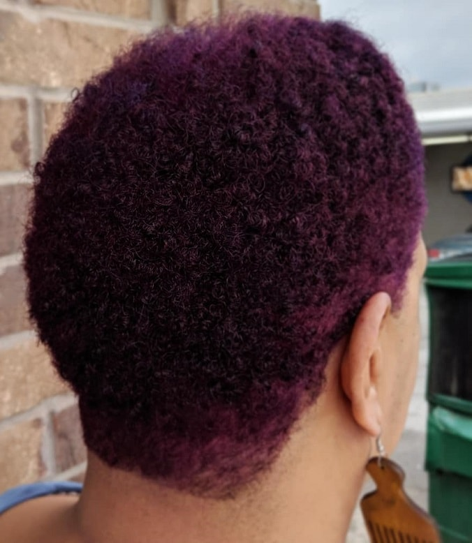 short purple afro hair