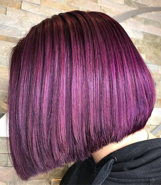 Short Purple Balayage Bob