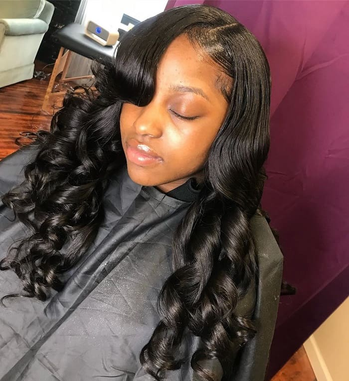 curly side part sew in with bang