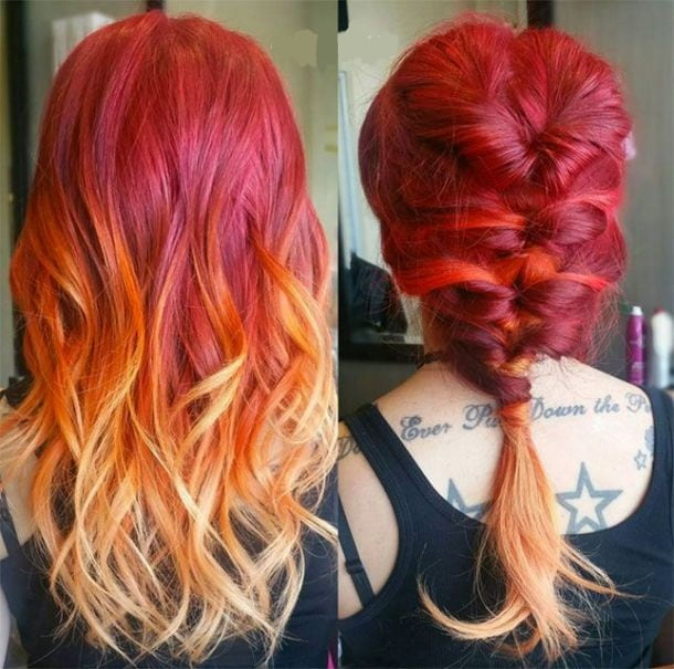 braided ponytail sunset ombre