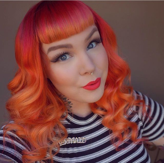 sunset ombre hair with bangs