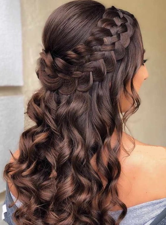 Waterfall Curls with a Double French Braid