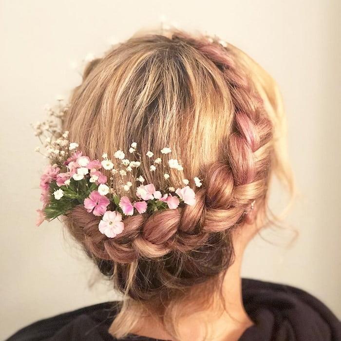dutch braid crown with flowers