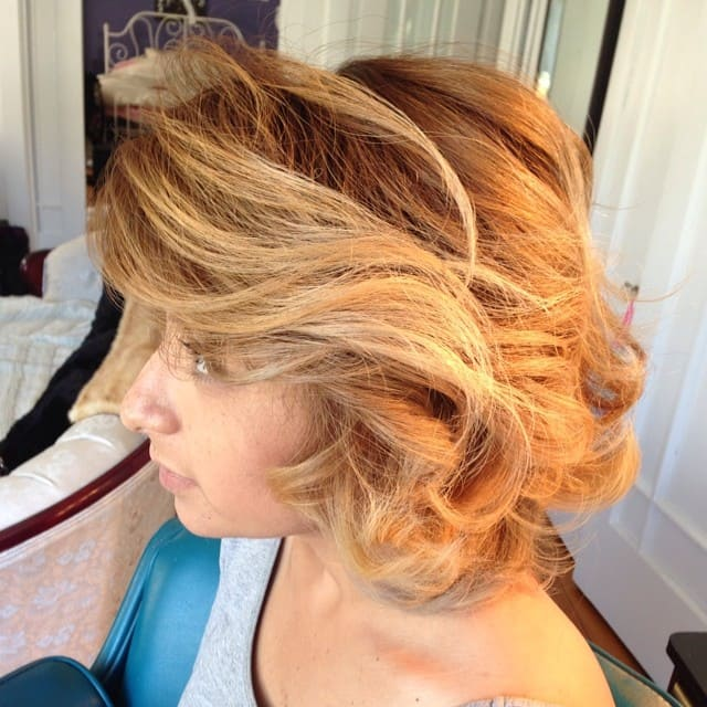 brown waves with light blonde highlights
